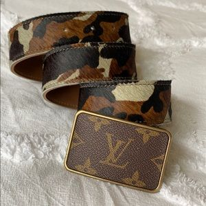 Louis Vuitton Material on Custom Belt with Camo